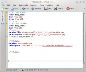 screen shot of an htaccess file in KATE editor