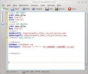 screen shot of an htaccess file in KATE editor