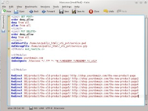Screen shot of htaccess file with added redirect code