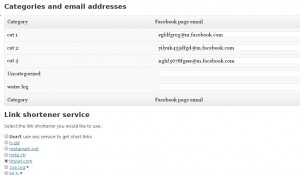 a screen shot of the settings page for WP email-to-Facebook