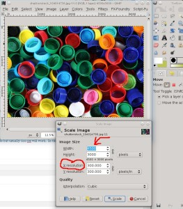 a screen shot of gimp using the scale image function