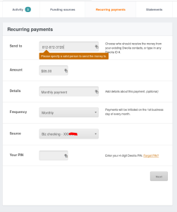 Scheduling an automatic payment with Dwolla