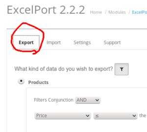 excelport export tab