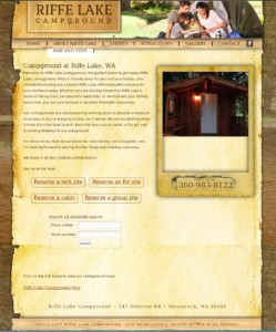 THe home page for RiffeLakeCampgroundwa.com with the booking search box